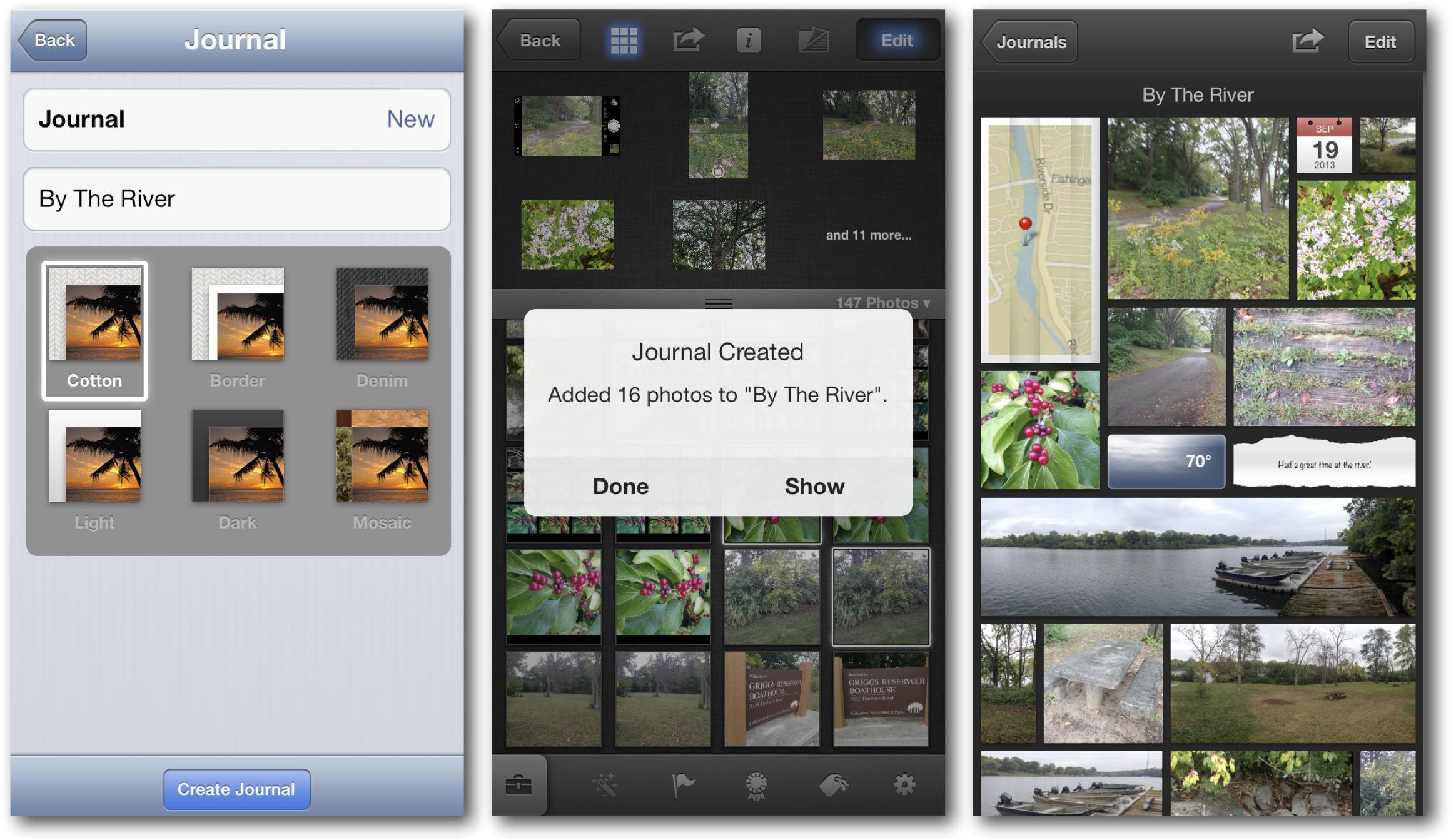 iOS 7 iPhoto Journals
