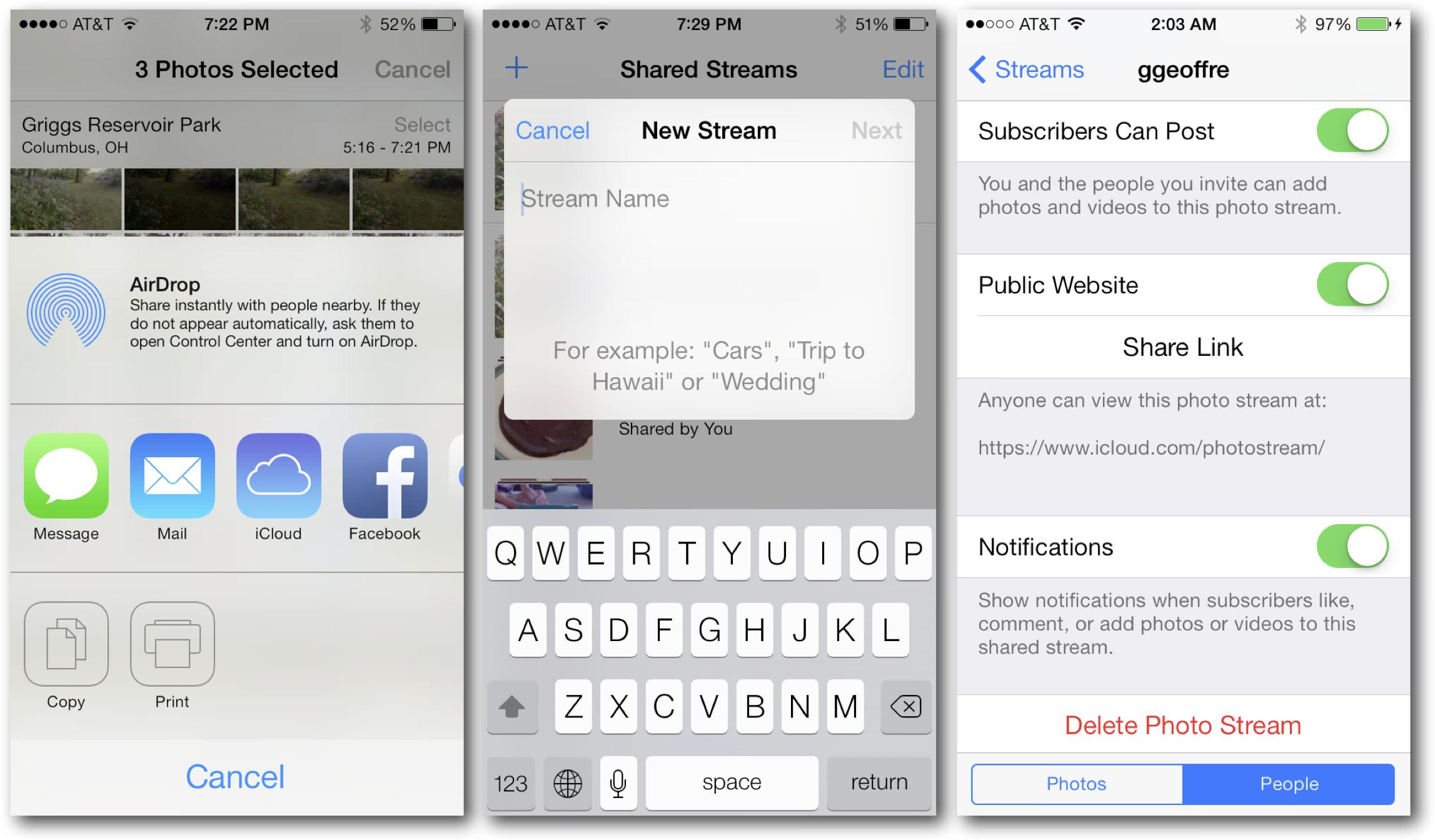 iOS 7 Photos Public Photo Stream