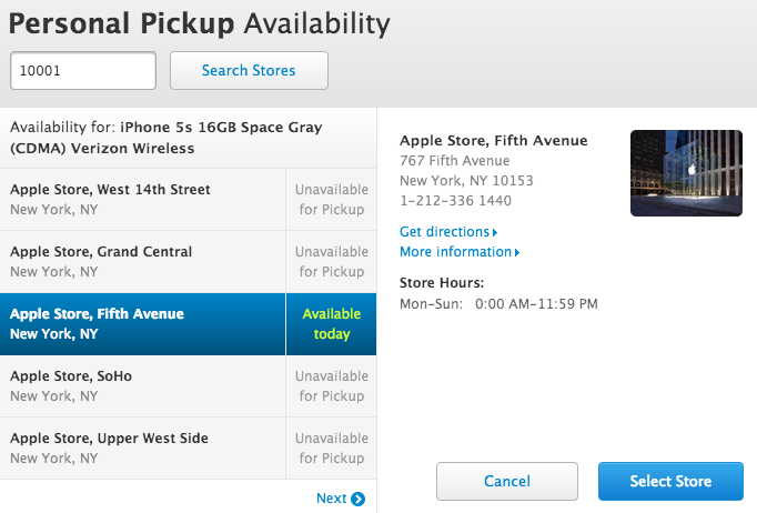 iPhone 5s pickup availability