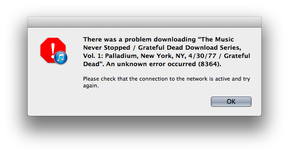 iTunes Match Error