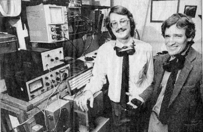 Selective laser sintering co-creators Carl Deckard and Joe Beaman with an early 3D printer. Photo courtesy of UT-Austin.