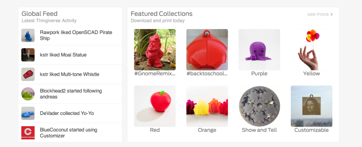 A selection of downloadable designs on the Makerbot Thingiverse website.