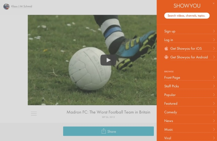 showyou video page with sidebar