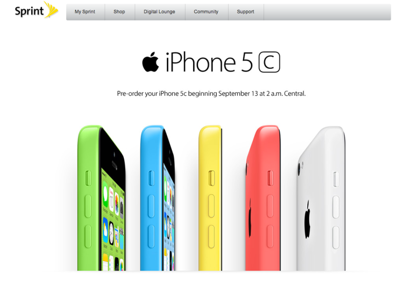 Sprint iPhone 5c preorder