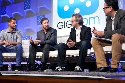 (L to R:) Steven van Wel, CEO, Karma; Sascha Meinrath, VP and Director, New America Foundation's Open Technology Institute; Micha Benoliel, Co-Founder and CEO, Open Garden; Kevin Fitchard, GigaOM Mobilize 2013 (c) 2013 Pinar Ozger pinar@pinarozger.com