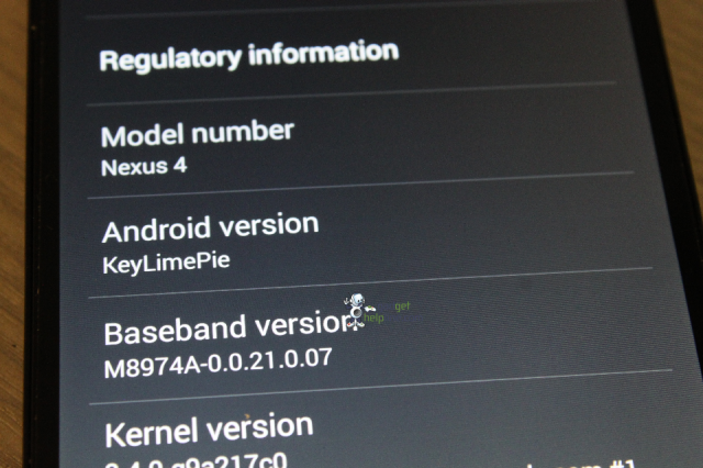 Android 4.4 settings