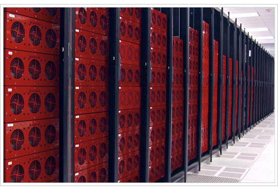 An aisle full of pods in the Backblaze data center.