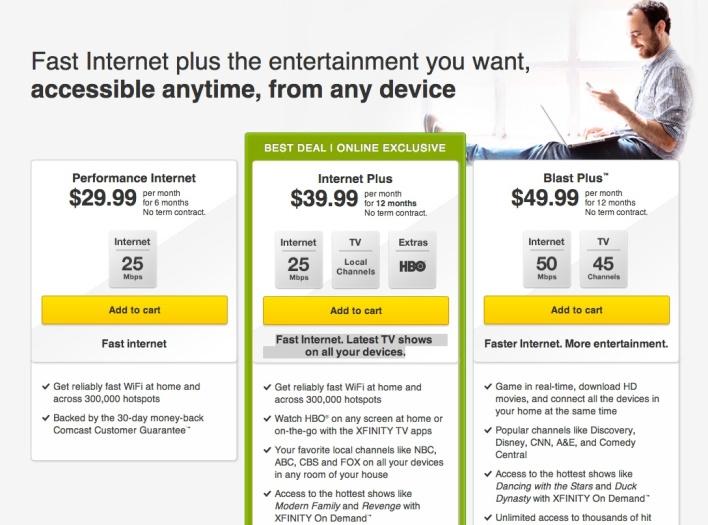 comcast internet plus