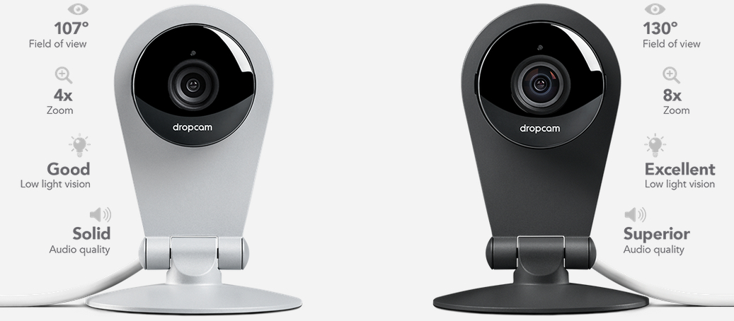 Dropcam on the left; Dropcam Pro on the right.
