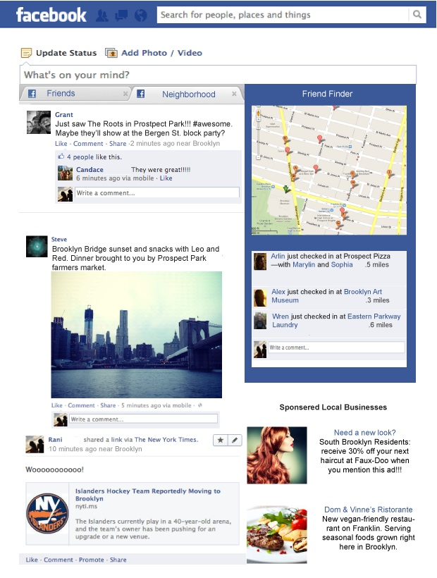 Mockup of Facebook Neighborhoods concept.          Rani Molla/GigaOM