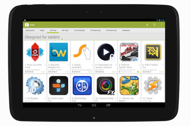 Google Play Tablet section