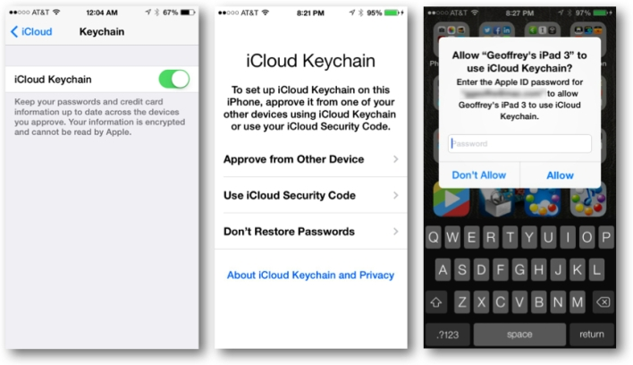 iCloud Keychain Approval Process