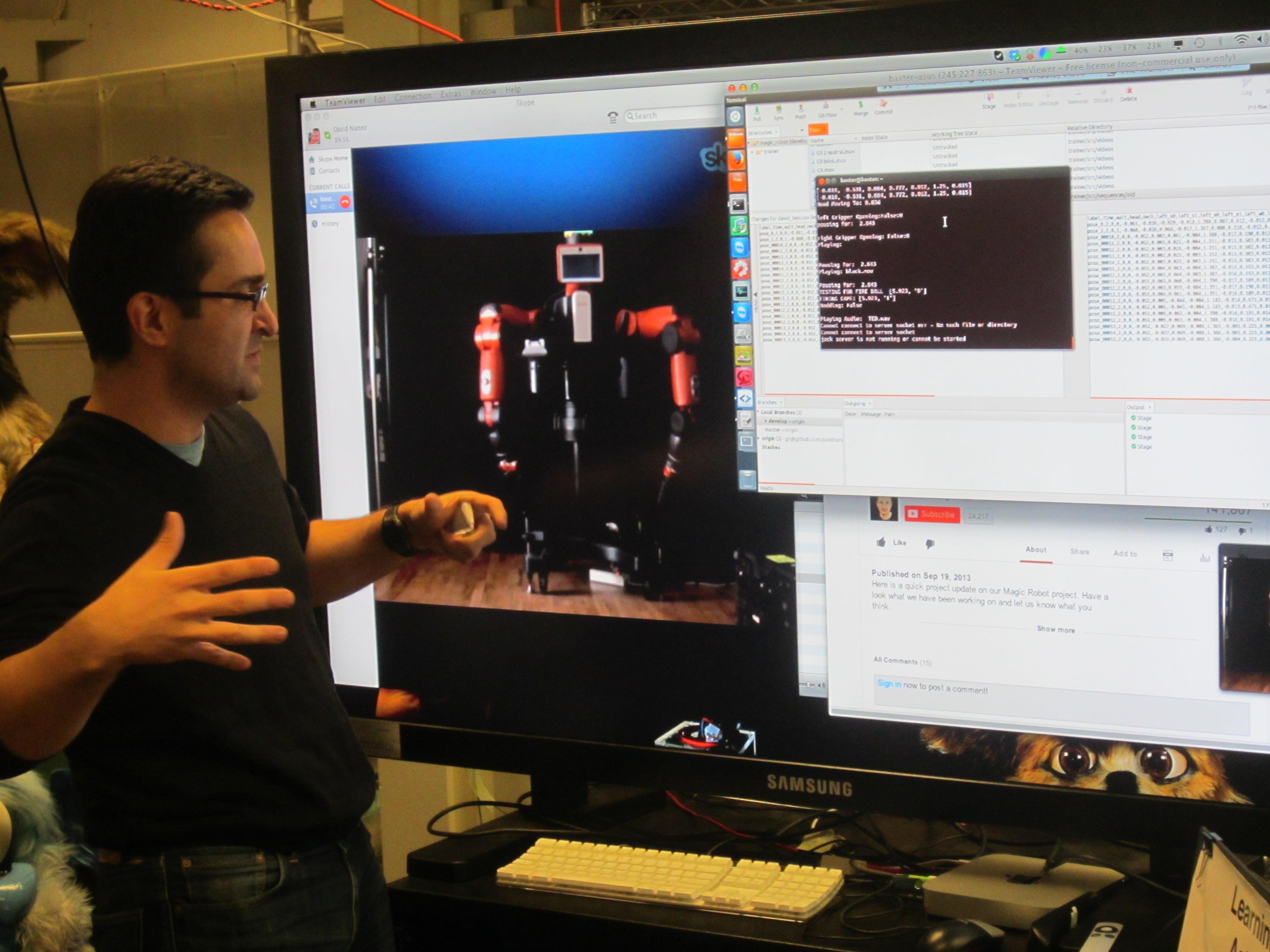David Nunez communicates with customized Baxter robot via Skype.