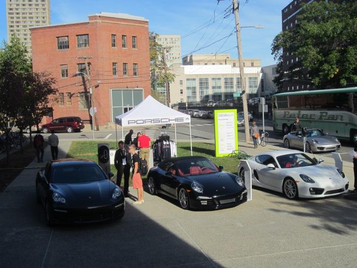 Hybrid Porsches on display at MIT Media Lab.