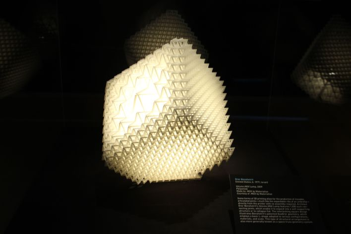 """Volume.MGX Lamp,"" 3D printed collapsable lamp, by Dror Benshetrit"