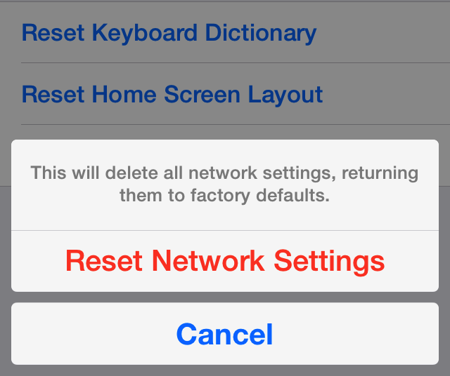 iOS 7 Reset Network Settings