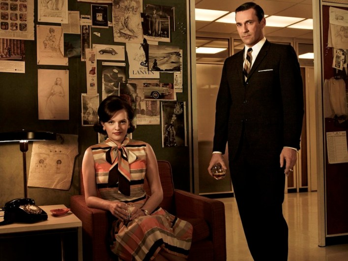Peggy Olson (Elisabeth Moss) and Don Draper (Jon Hamm) from AMC's hit show Mad Men. Photo Credit: Frank Ockenfels/AMC