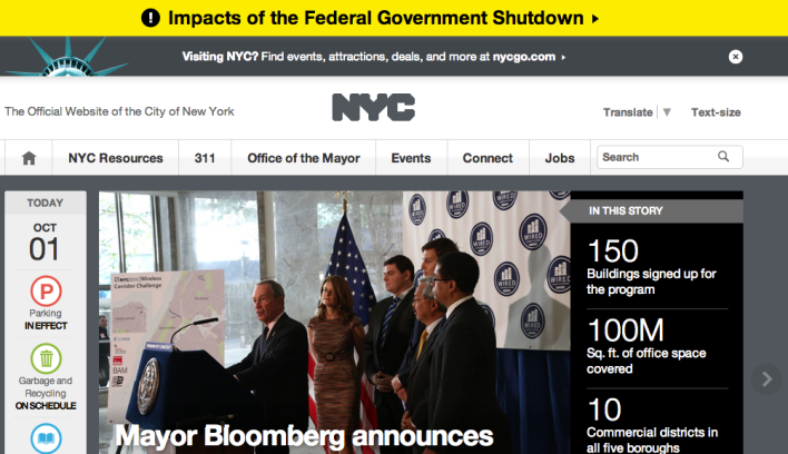 NYC.gov homepage currently has information about the government shutdown at the top  of the homepage in yellow.