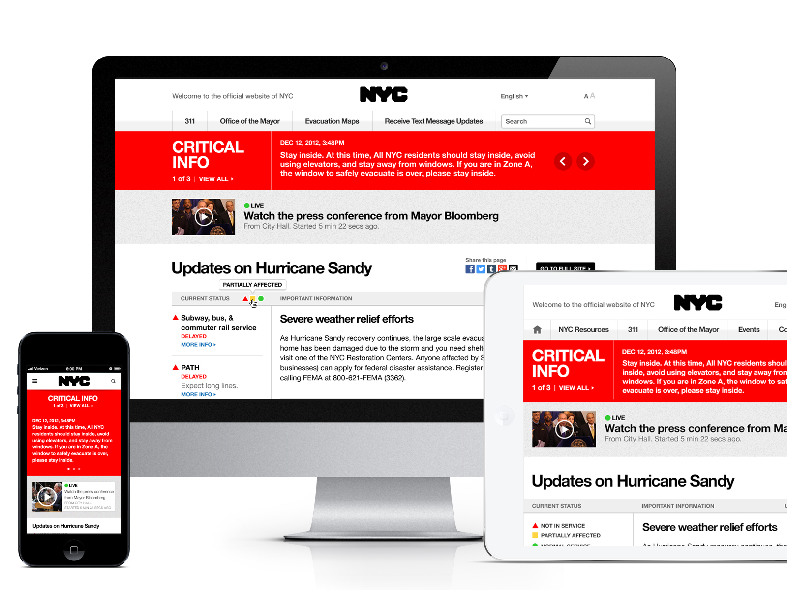 A special, pared-down homepage takes over for NYC.gov in case of an emergency.