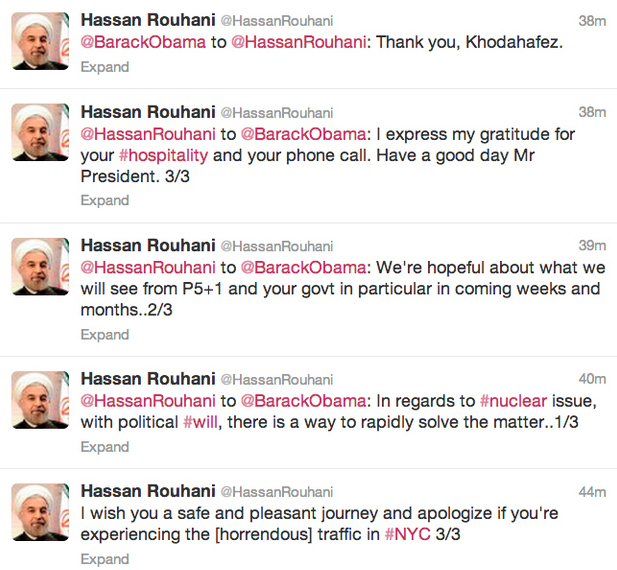 Obama and Rouhani on Twitter