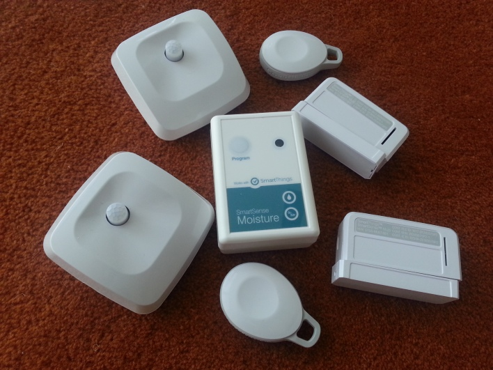 A pile of sensors from SmartThings.
