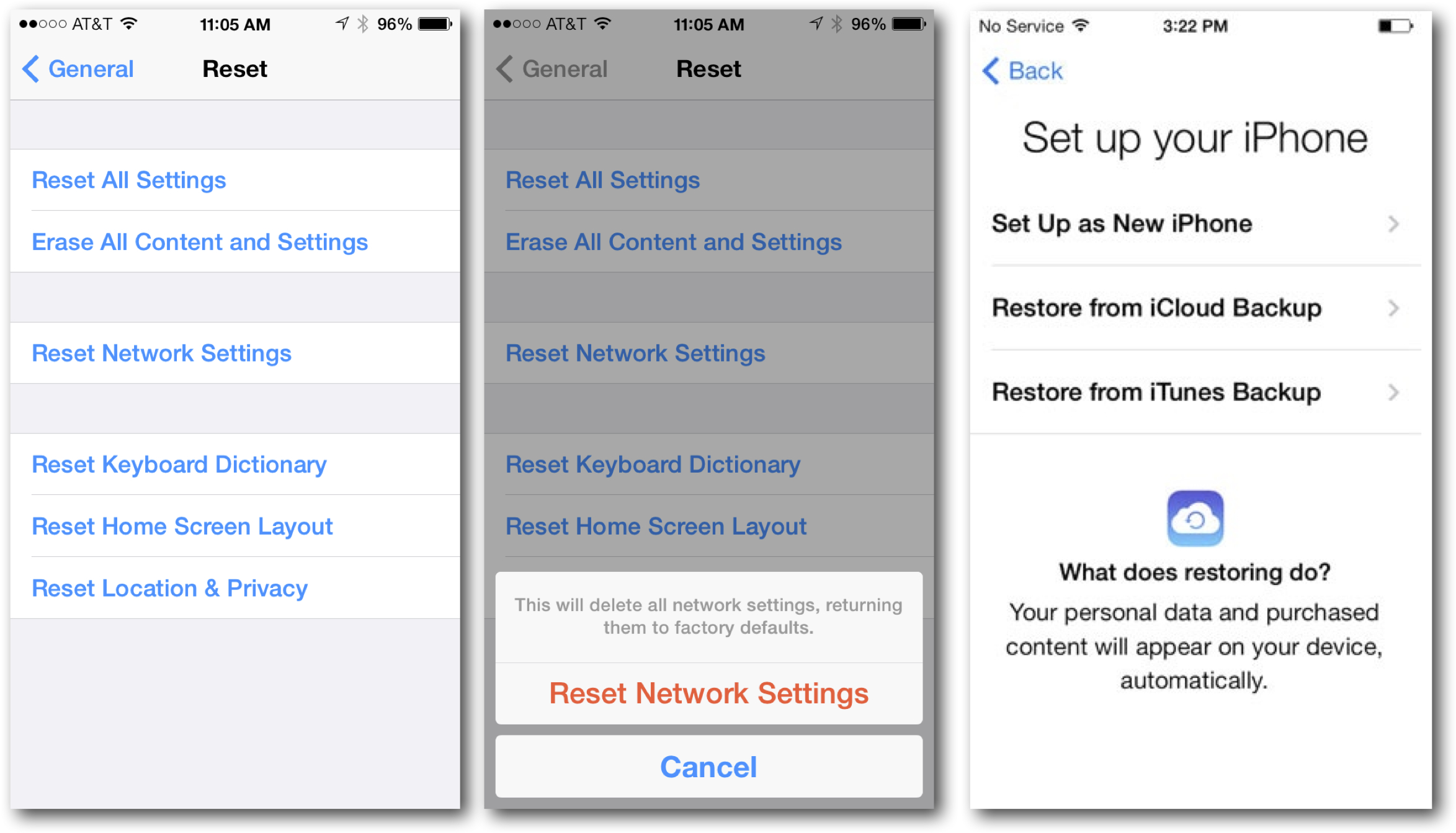 Reset Options for iOS 7