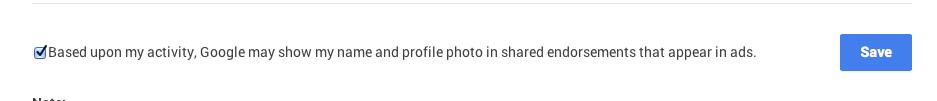 Google endorsement screenshot