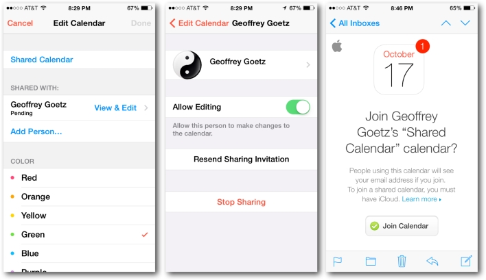 Sharing iCloud's iCalendars