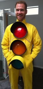 SparkFun CEO Nathan Seidle in his 2010 stoplight costume.