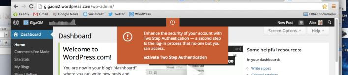 WordPress activate two step authentication