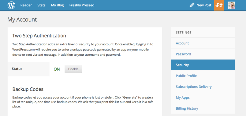 WordPress two step authentication activated