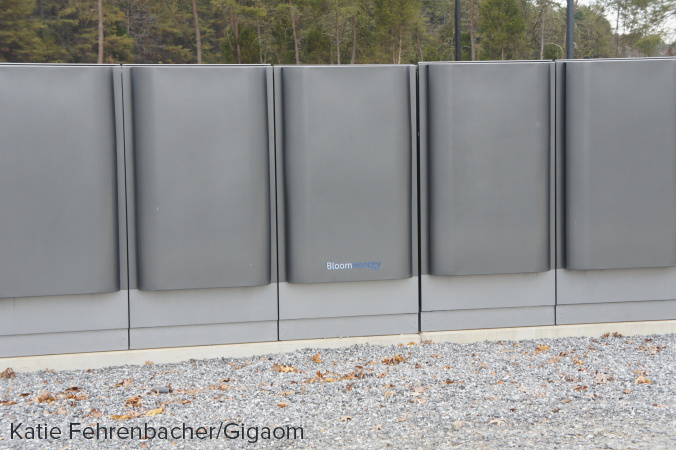 Close up of Apple's fuel cells, made by Bloom Energy