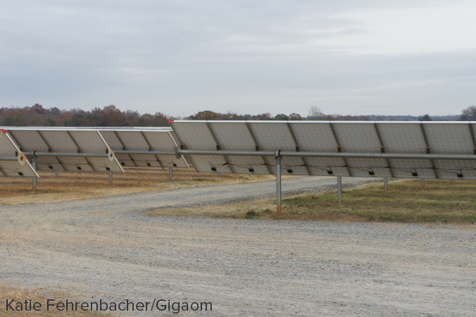 Close up shot of the panels at Apple's solar farm