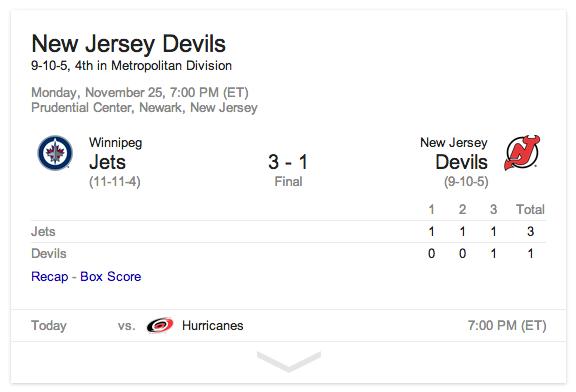 devils score