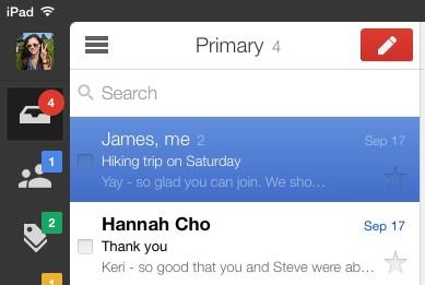 Gmail for iOS on iPad