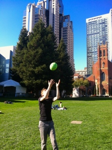 Panono creator Jonas Pfeil tosses the ball in Yerba Buena Gardens in San Francisco. Photo by Signe Brewster