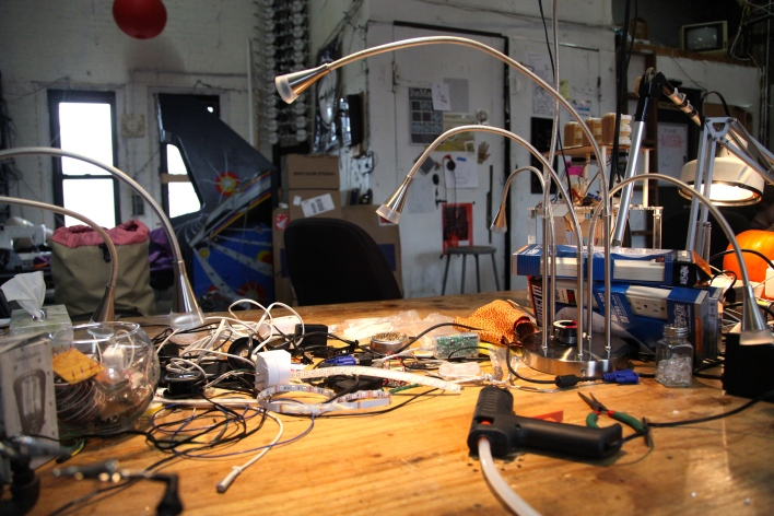 NYC Resistor's main hacking table. Photo by Signe Brewster.