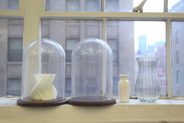 3D printed vases sit on a windowsill in Shapeways' Manhattan headquarters. Photo by Signe Brewster