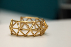 A metal cuff 3D printed at Shapeways. Photo by Signe Brewster