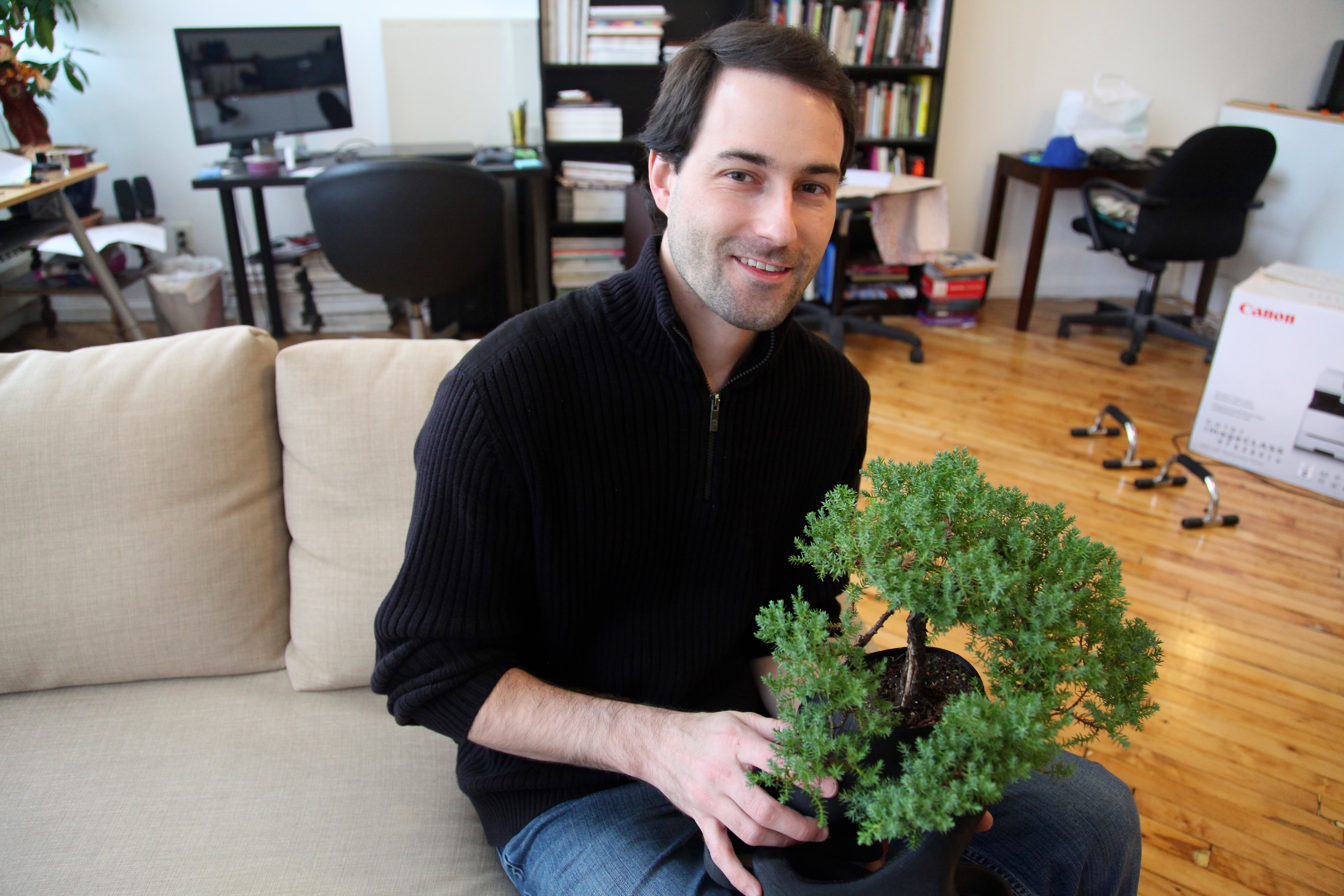 gMax founder Gordon LaPlante with a 3D printed bonsai planter. Photo by Signe Brewster