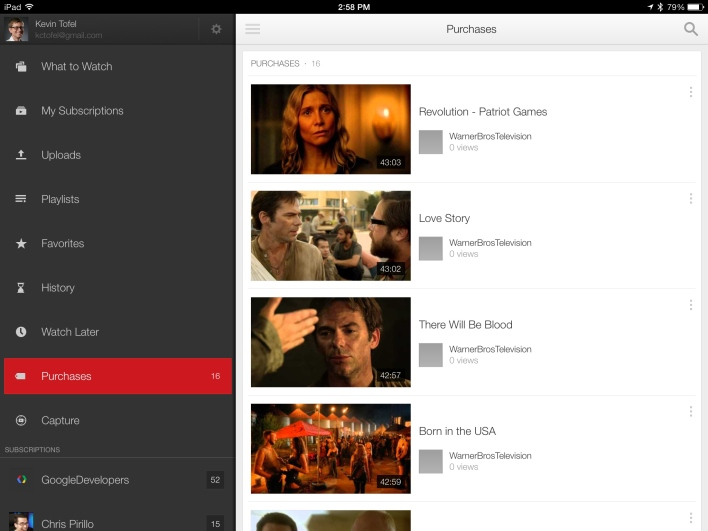 ipad air youtube purchases