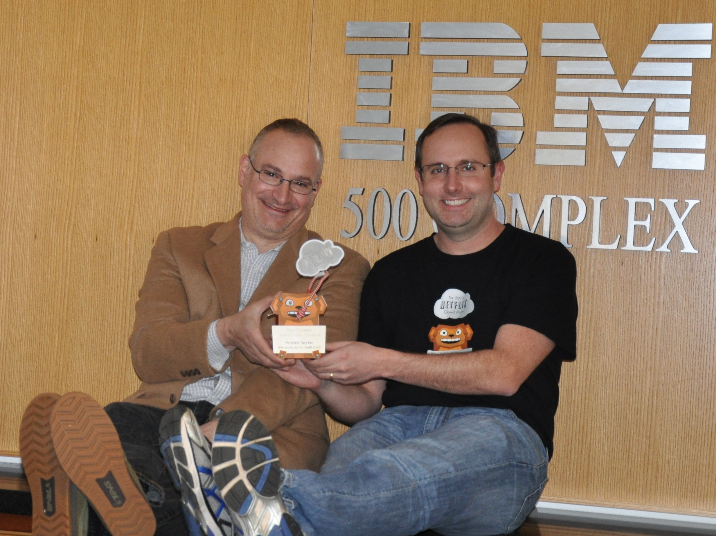 IBM's Jerry Cuomo and Andrew Spyker with their Netflix Cloud Monkey trophies.