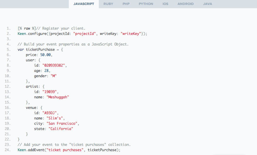 A sample of how to track events with the Keen API.