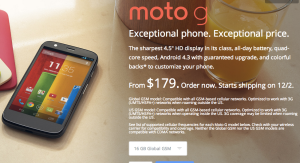 Moto G order screen