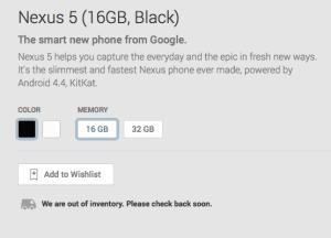 Nexus 5 inventory