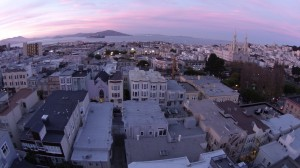 A photo taken with the Phantom 2 Vision above San Francisco's North Beach district. Photo by Signe Brewster