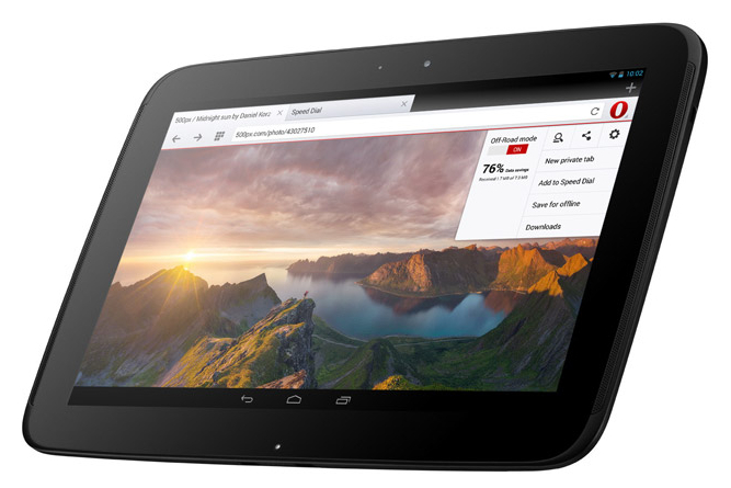 Opera on Android tablet