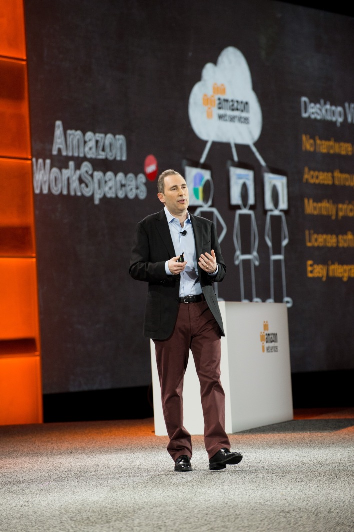 AWS SVP Andy Jassy speaking at AWS re:Invent.