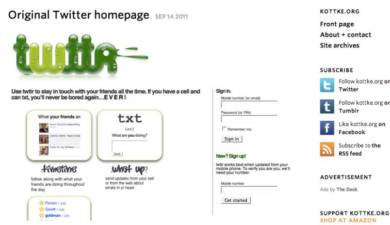 Twitter homepage 2006