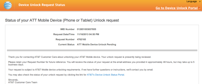 at&T device lock screenshot